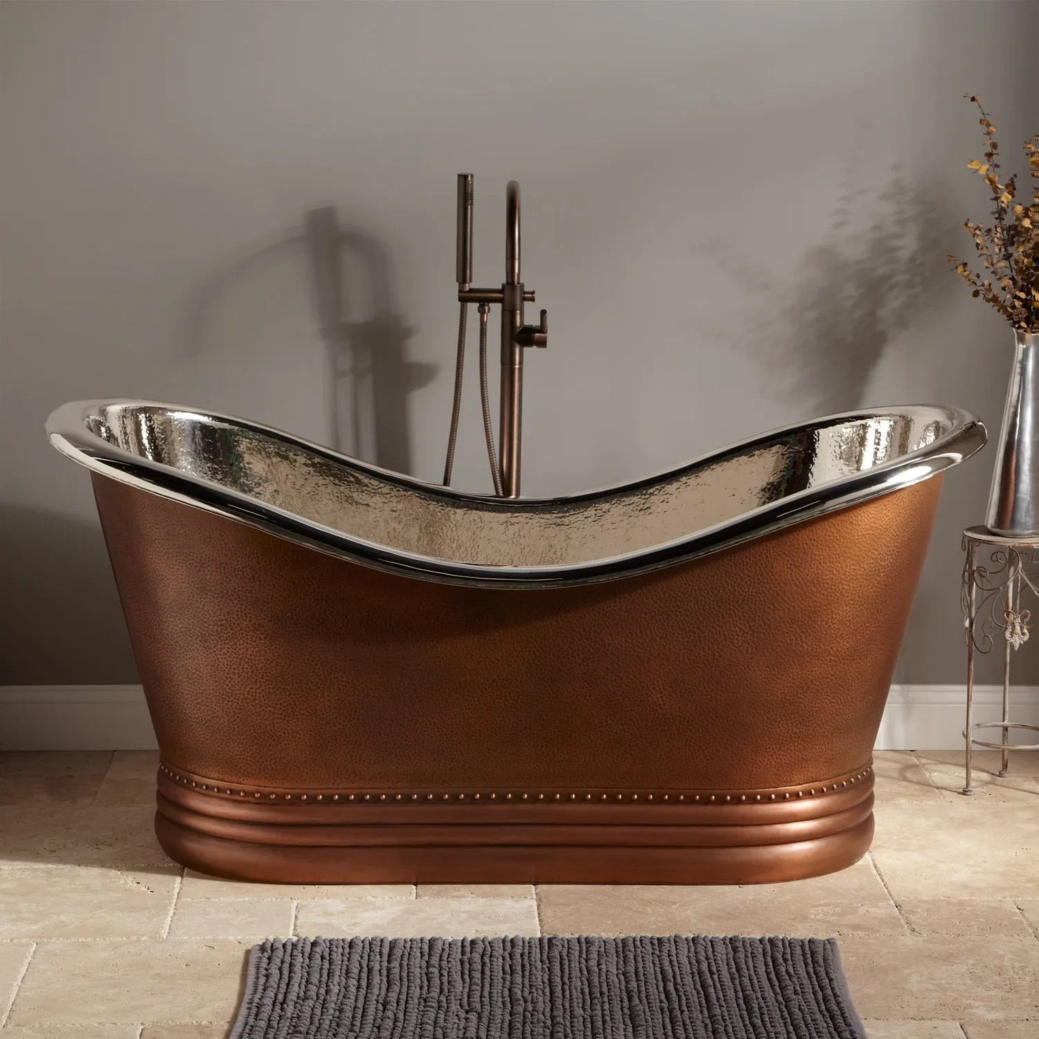 66 Finley Hammered Copper Double Slipper Tub Wrought