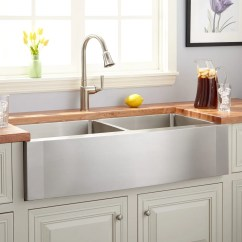 42 Inch Kitchen Sink Blue Color Cabinets Farmhouse Signature Hardware Ackerman Double Bowl Stainless Steel Wave Apron