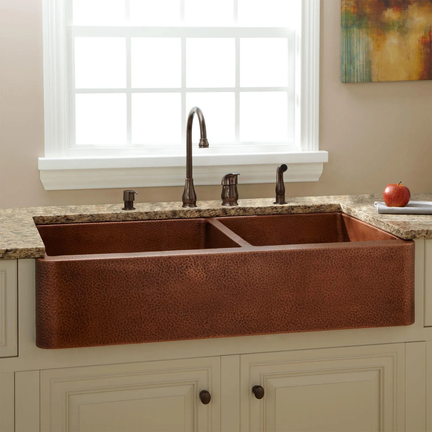 39 Fiona 60 40 Offset Double Bowl Hammered Copper Farmhouse Sink  eBay