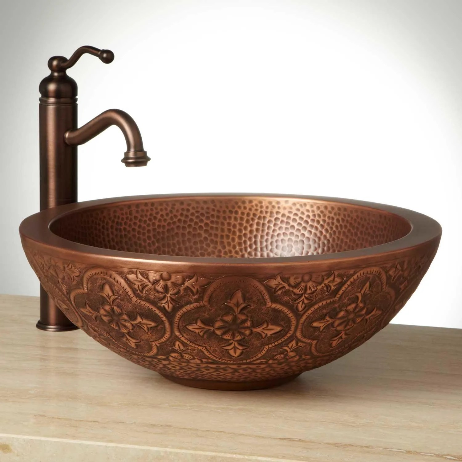 copper bathroom vessel sink | signature hardware