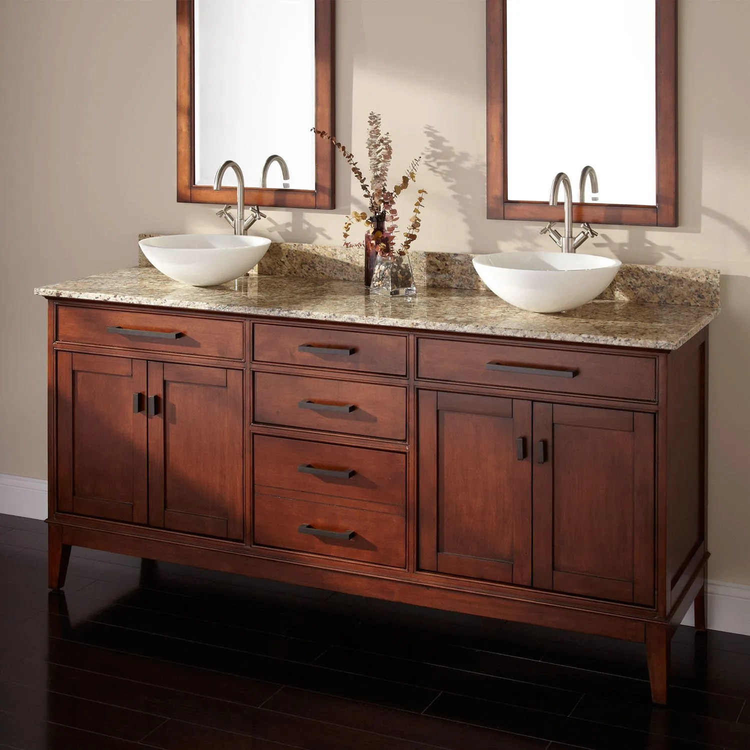 72 Tobacco Madison Double Vanity for Undermount Sinks