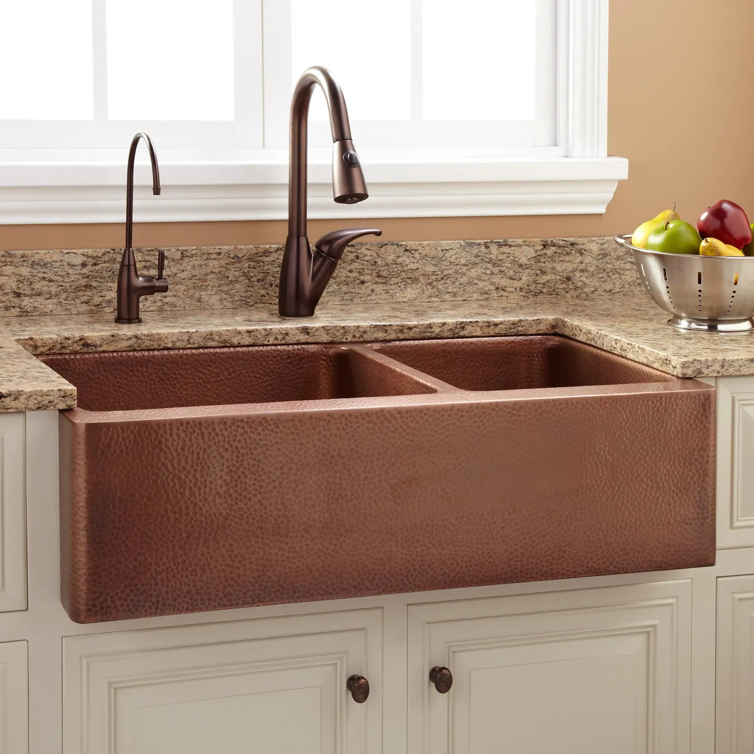 copper kitchen sink corner hammered signature hardware 36 tegan 70 30 offset double bowl farmhouse
