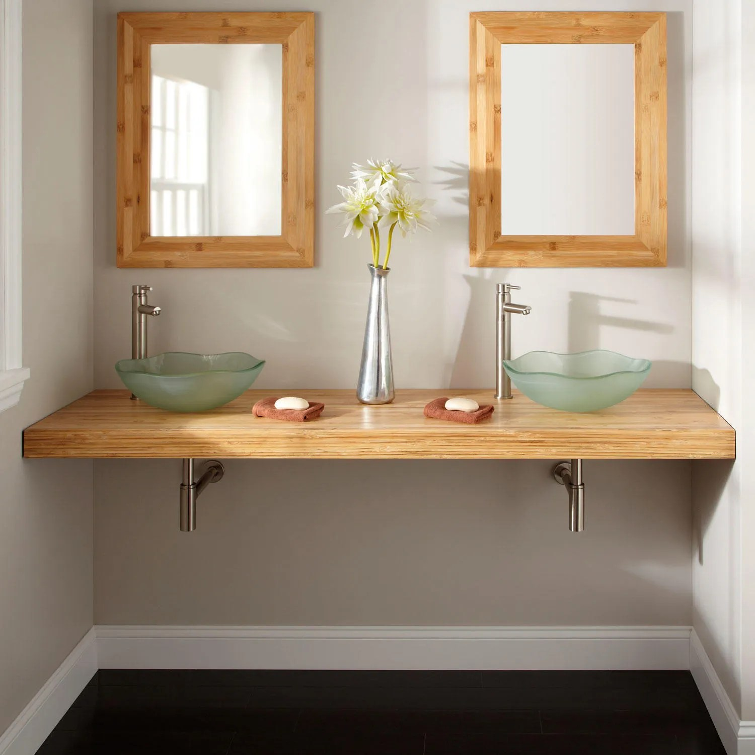 25 x 22 Bamboo Vessel Sink Vanity Top  Vanity Tops