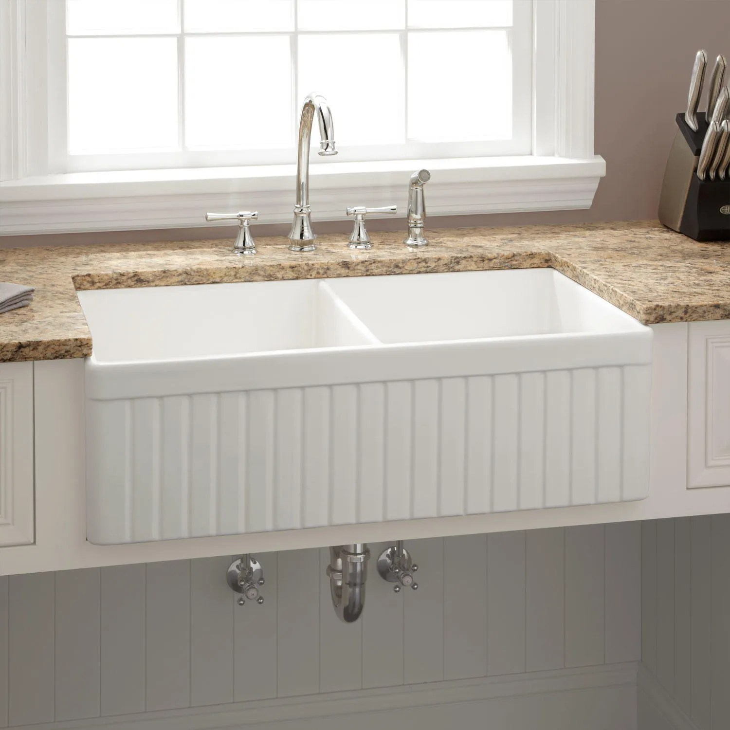 white kitchen sink panda cabinets 33 quot baldwin double bowl fireclay farmhouse fluted