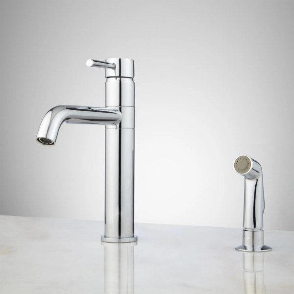 single hole kitchen faucet with side spray Cormac Single-Hole Kitchen Faucet with Side Spray