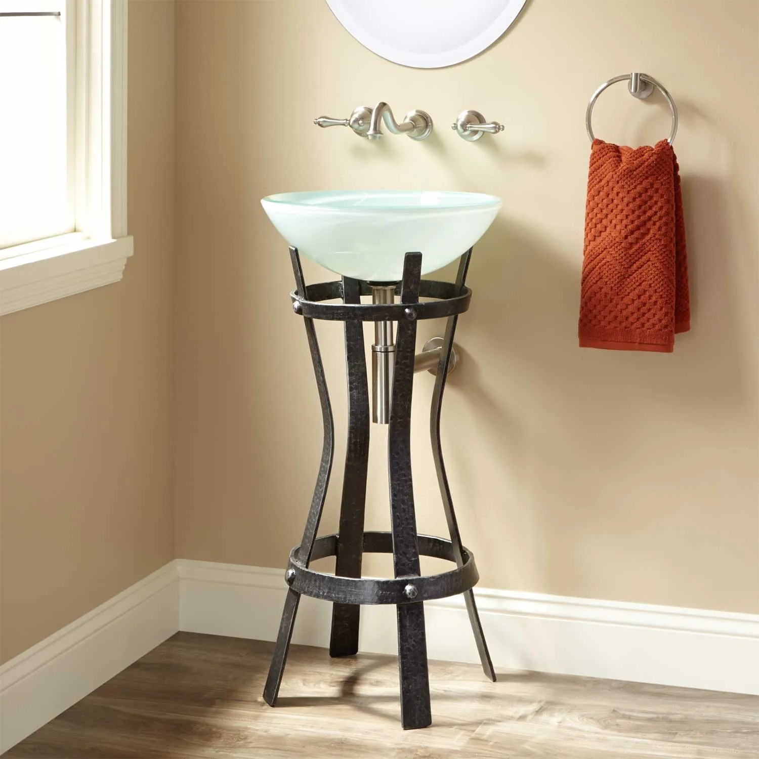 Rouleau Wrought Iron Vessel Sink Stand  Bathroom