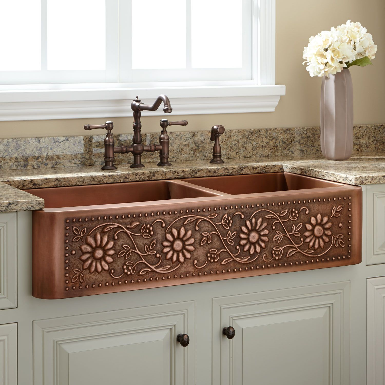 42 inch kitchen sink for sale farmhouse signature hardware sunflower 60 40 offset double bowl copper