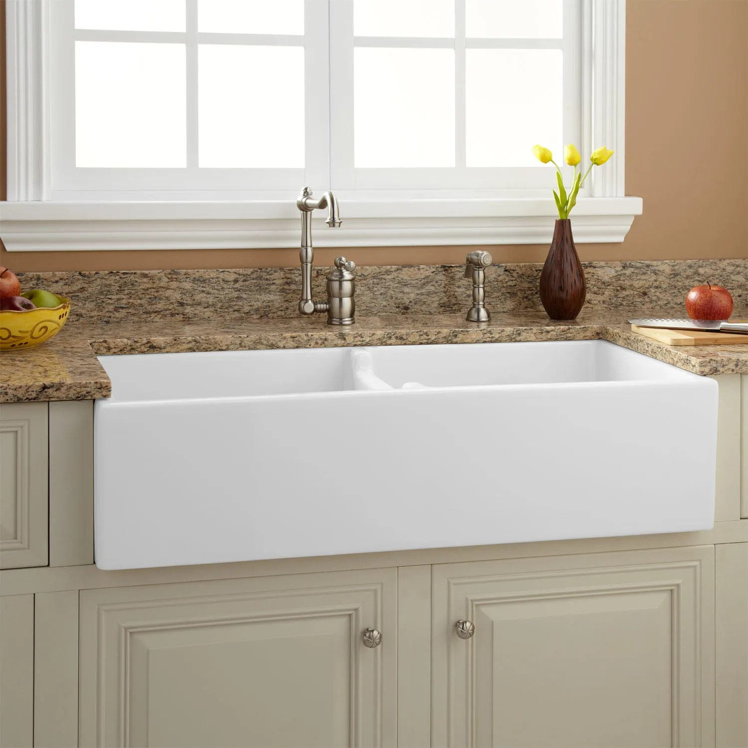 farm house kitchen sink assembled island 39 quot risinger double bowl fireclay farmhouse ebay