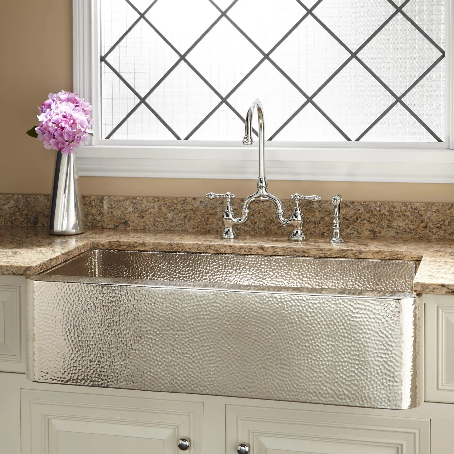 Signature Hardware 36 Reena Nickel Plated Hammered Copper Farmhouse Sink  eBay