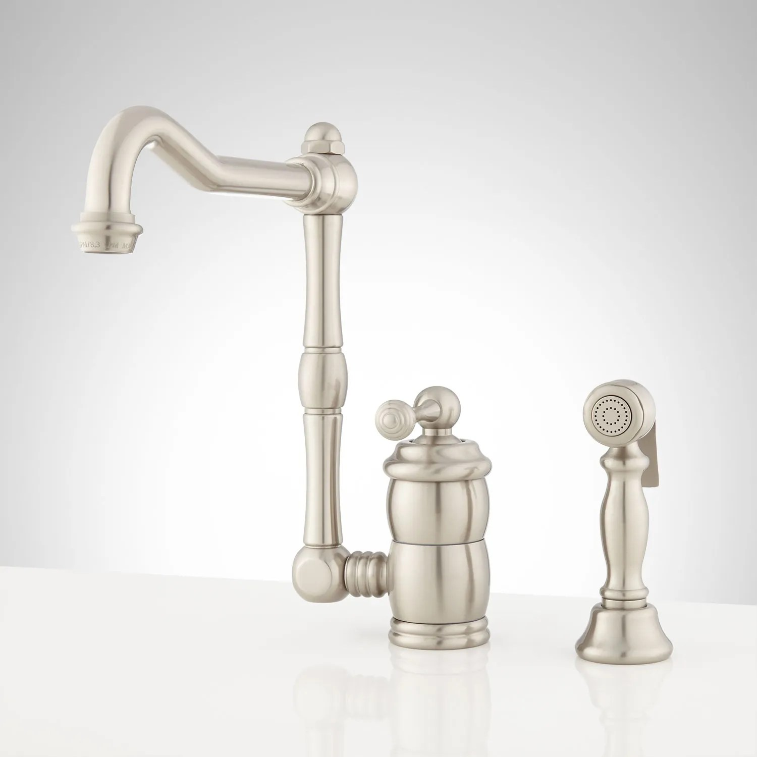 single kitchen faucet under cabinet lighting handle signature hardware mulder hole with side spray