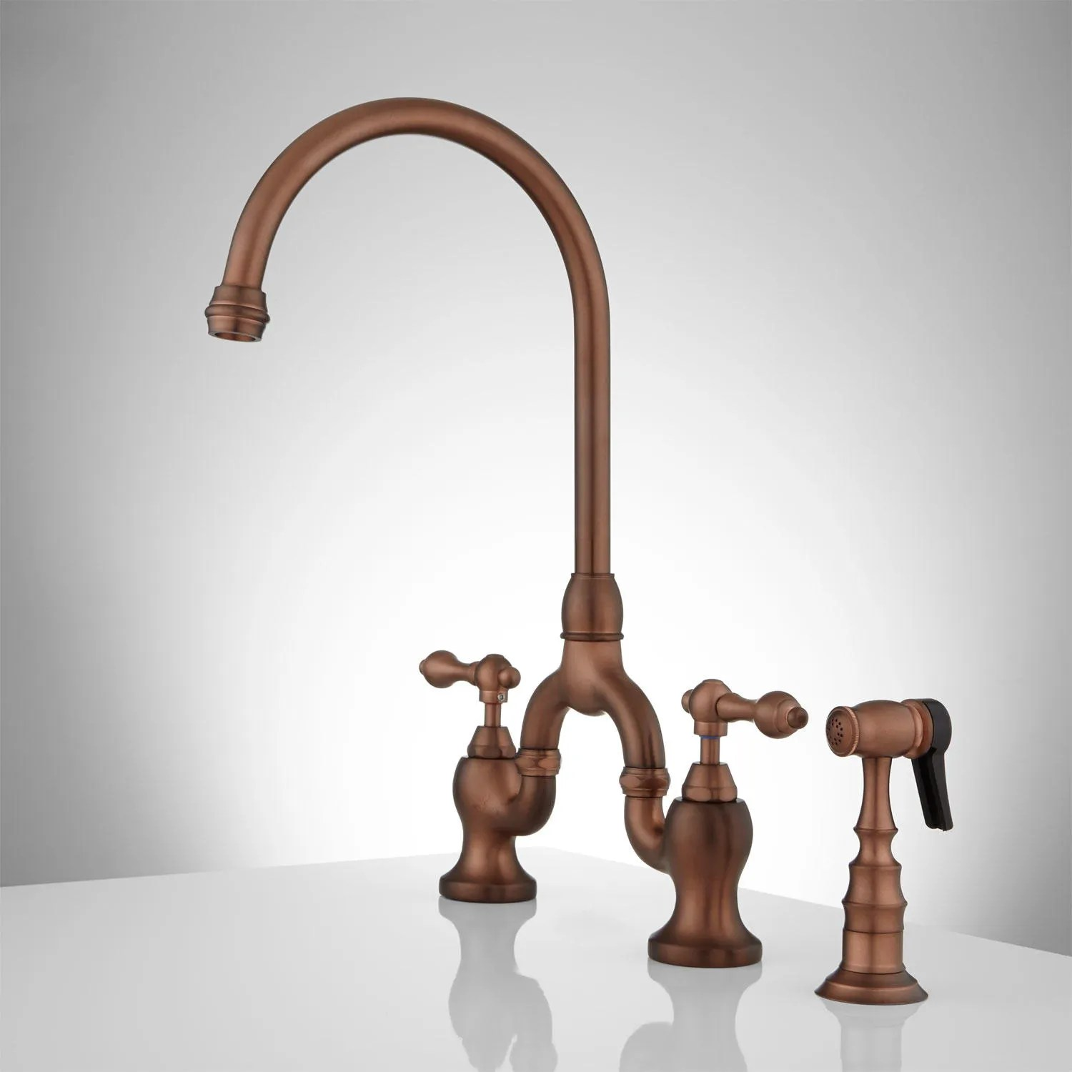 antique copper kitchen faucet wheeled island ponticello bridge with side spray lever