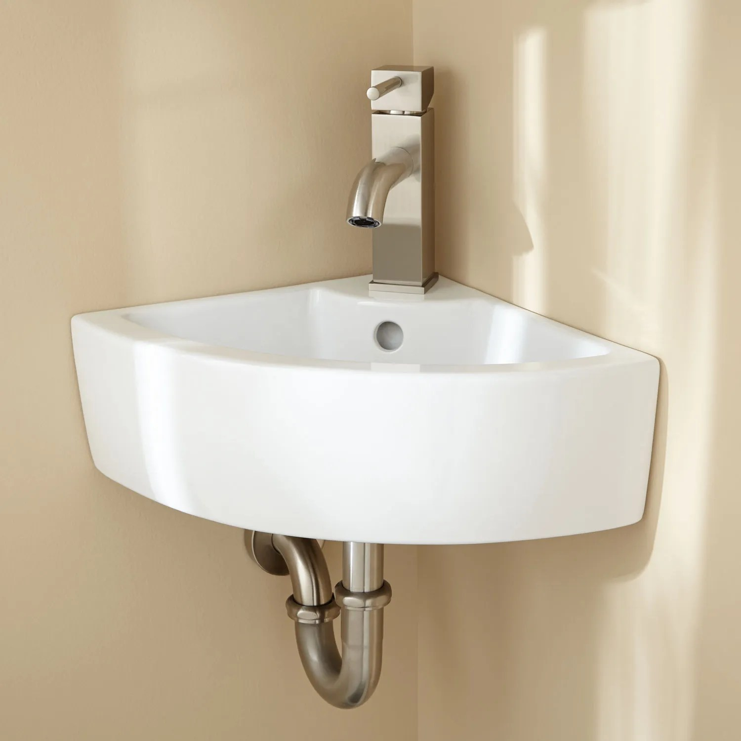 Signature Hardware Amelda Porcelain Wall Mount Corner Bathroom Sink  eBay