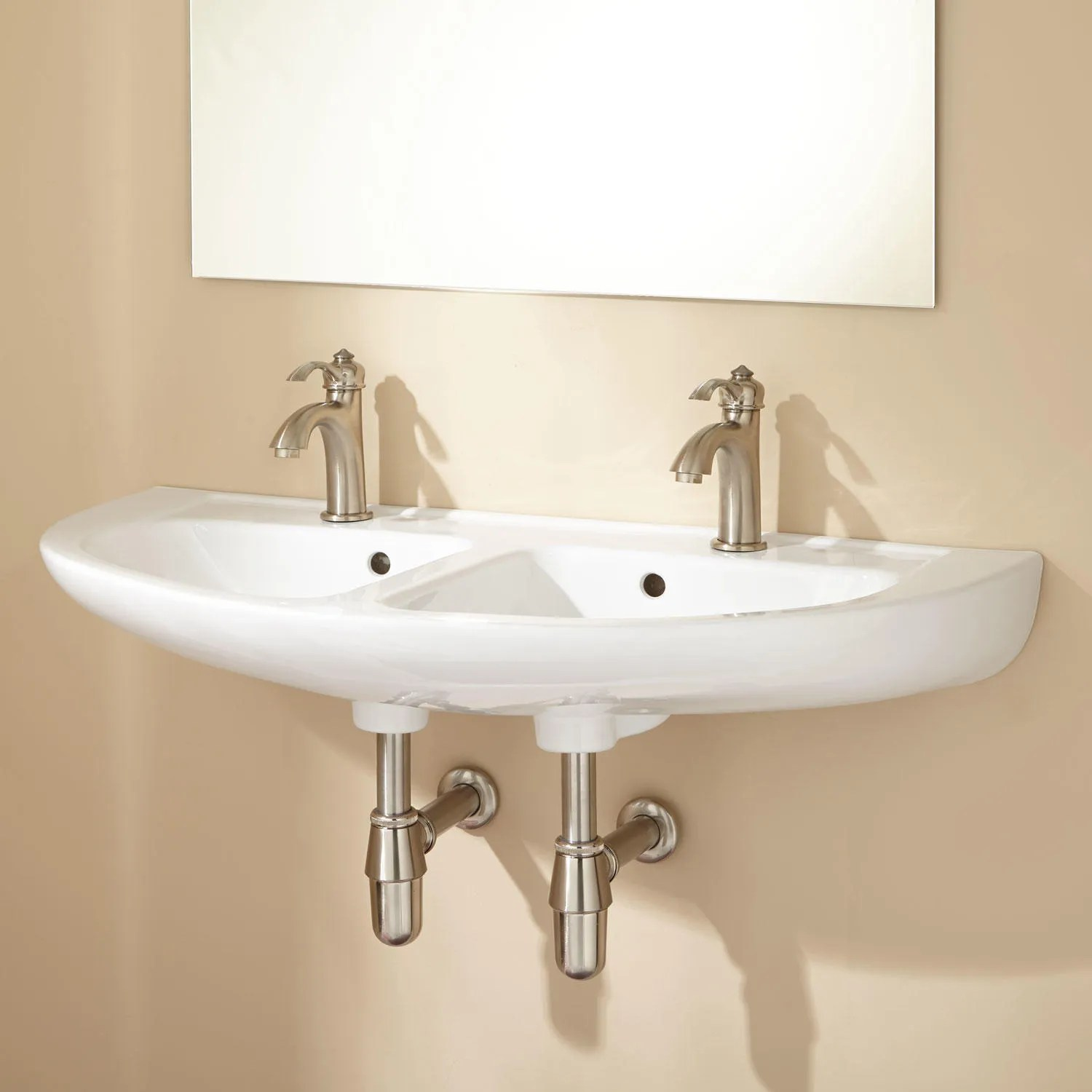 Cassin DoubleBowl WallMount Bathroom Sink