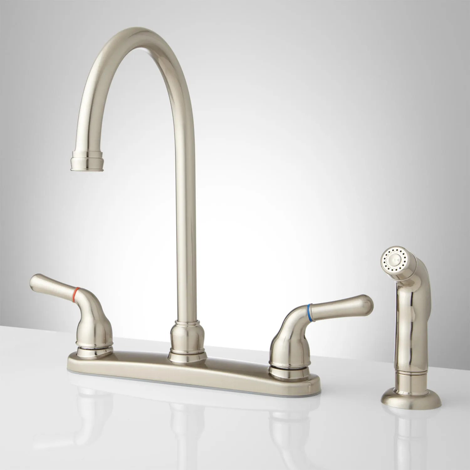 gooseneck kitchen faucet with pull out spray knotty pine cabinets lora single handle side
