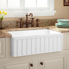 Kitchen Farm Sink Commercial Wall Covering Durable Farmhouse Signature Hardware 30 Oldham Fireclay Fluted Apron White
