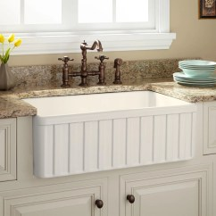 Farmhouse Kitchen Sinks 3 Hole Faucets Fireclay Signature Hardware