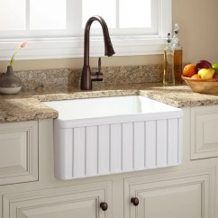 Farmers Kitchen Sink Bottom Grid 24 Inch Farmhouse Signature Hardware Oldham Fireclay Fluted Apron White