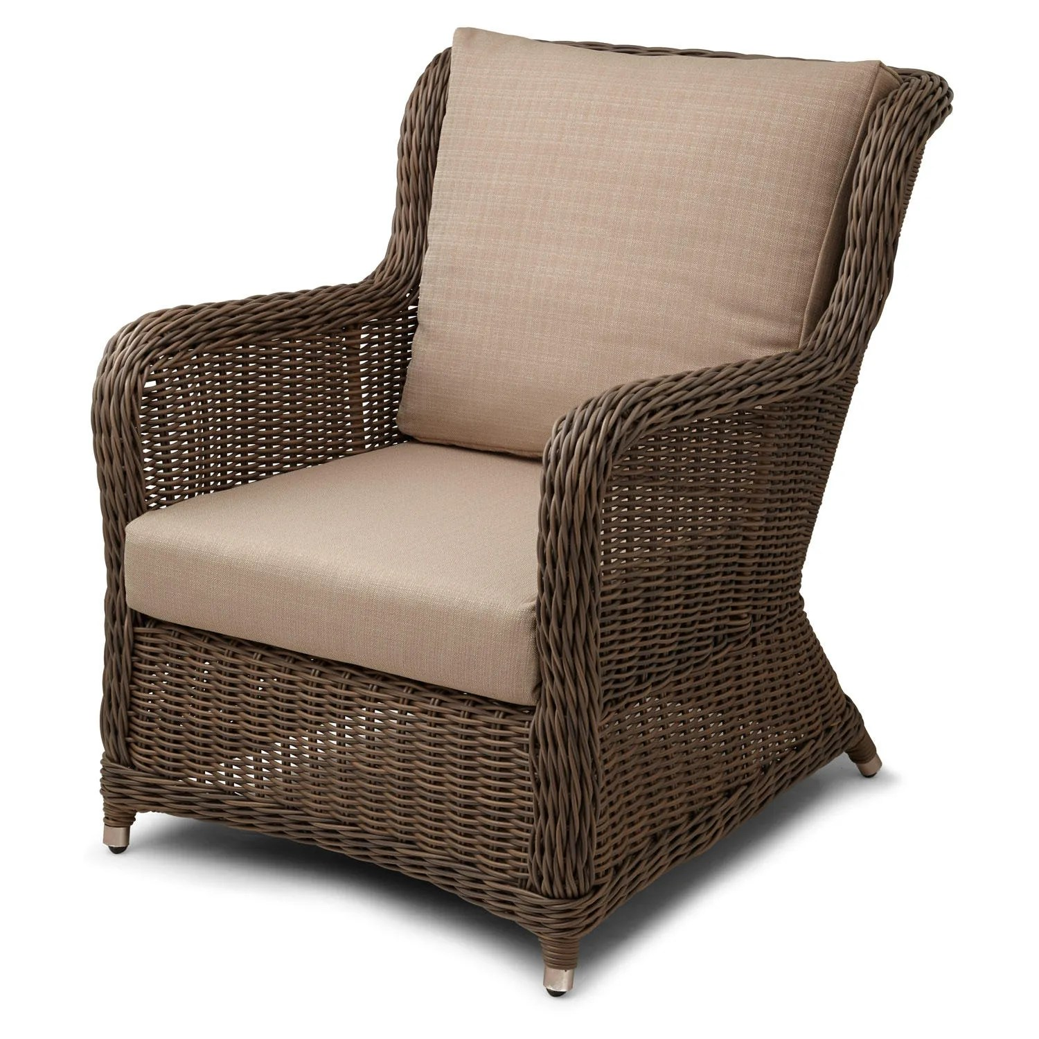 Signature Hardware Alcee Resin Wicker Arm Chair and Cushion  eBay