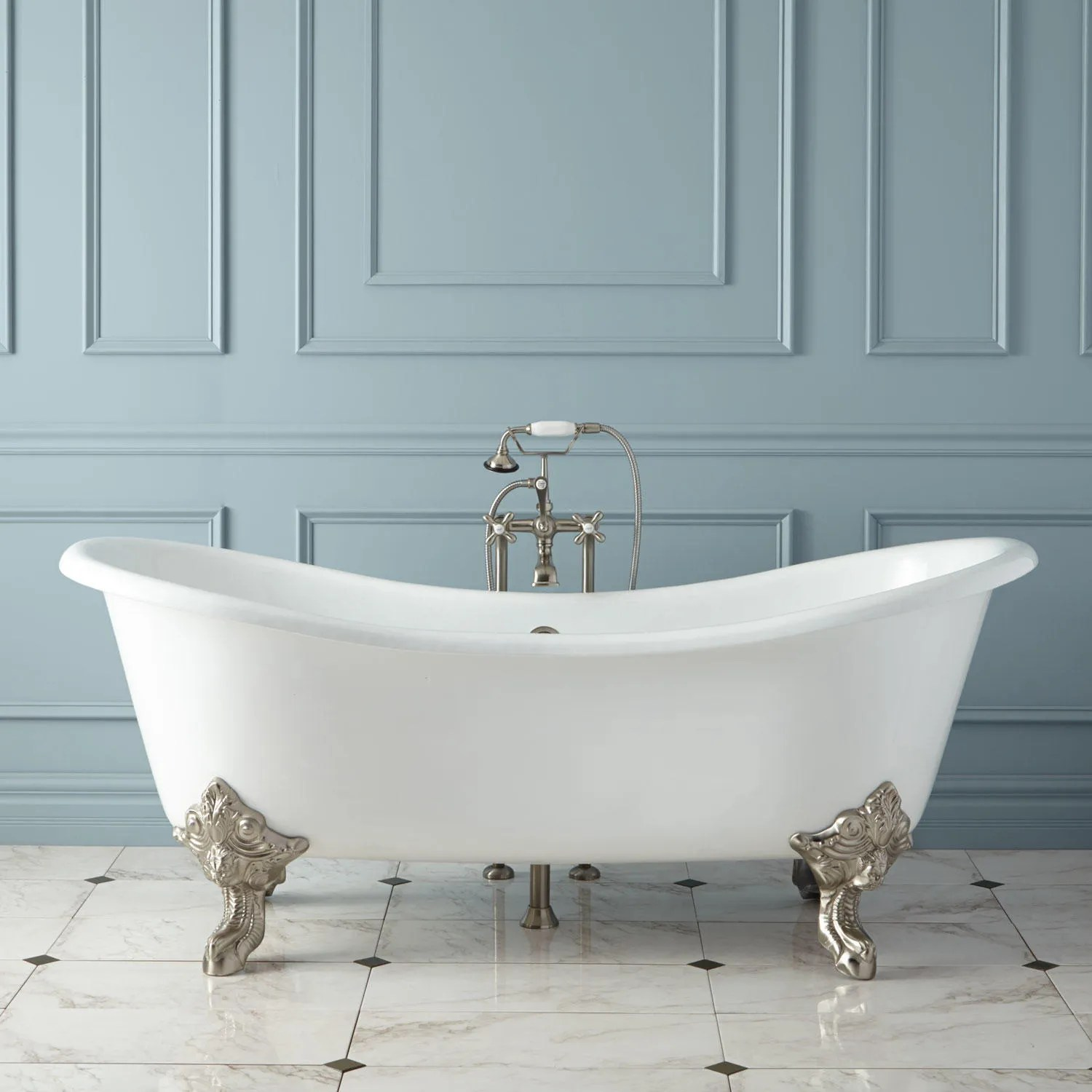 68 Erikson Cast Iron DoubleEnded Tub on Wood Cradles