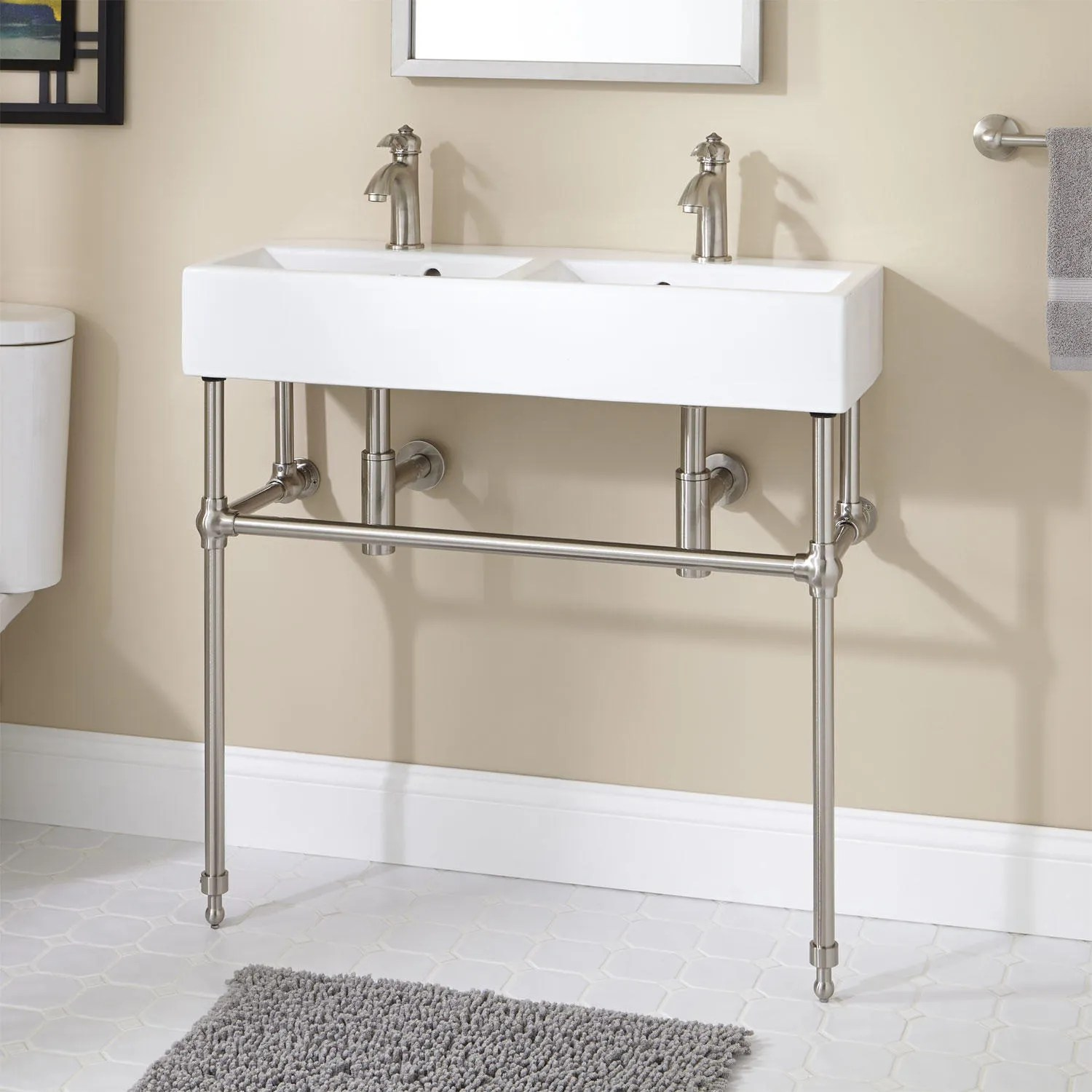 Yaromir Console Sink with Brass Stand  Console Sinks
