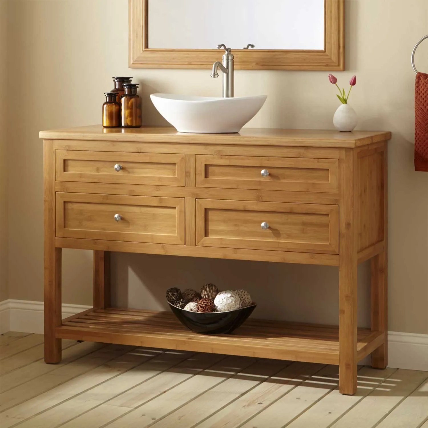 48 Narrow Depth Alcott Bamboo Vessel Sink Vanity  Bathroom