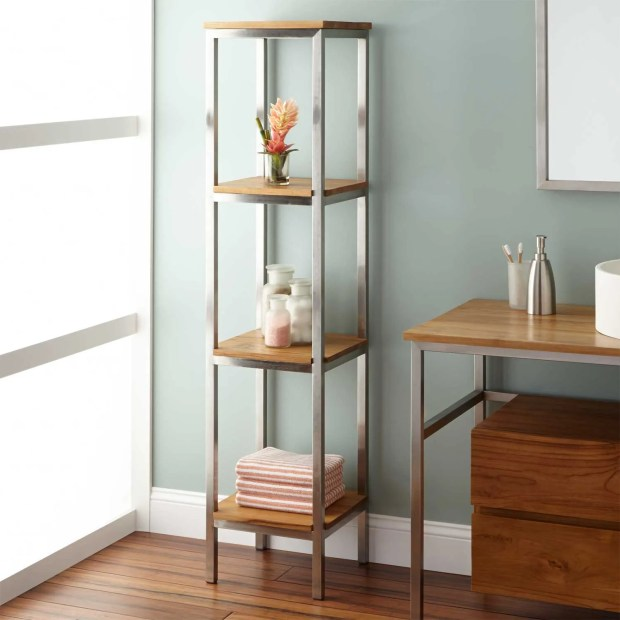 Teak Bathroom Shelves - Home Design Ideas