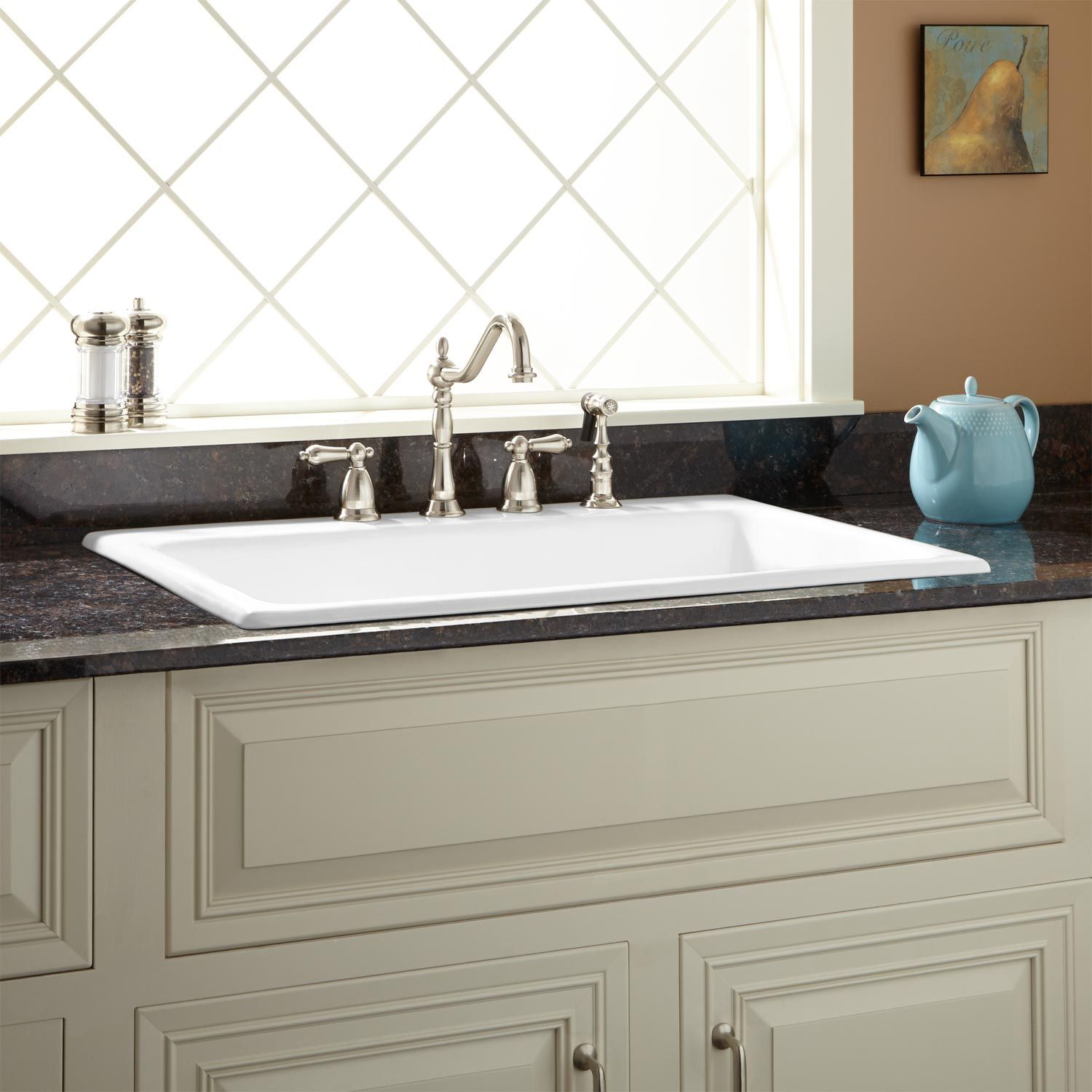 deep kitchen sink curved island signature hardware 33 palazzo cast iron drop in white