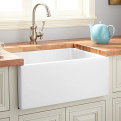 24 Inch Kitchen Sink Tv Mount Farmhouse Signature Hardware Adams Fireclay Reversible Smooth Apron White