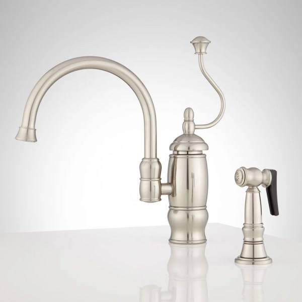 single hole kitchen faucet with side spray Signature Hardware Castlin Single Hole Kitchen Faucet with