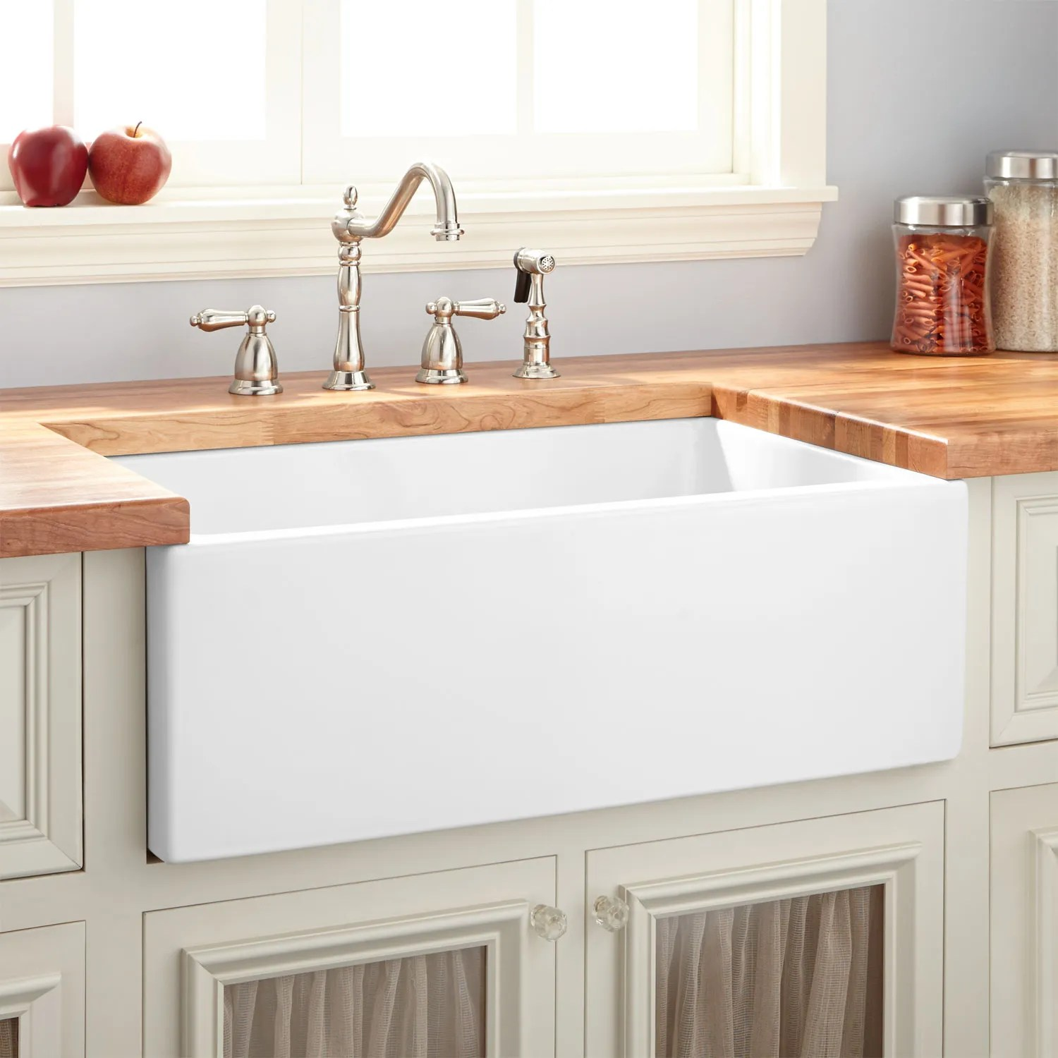 deep kitchen sink cabinets mn signature hardware 30 mitzy fireclay reversible farmhouse smooth apron white