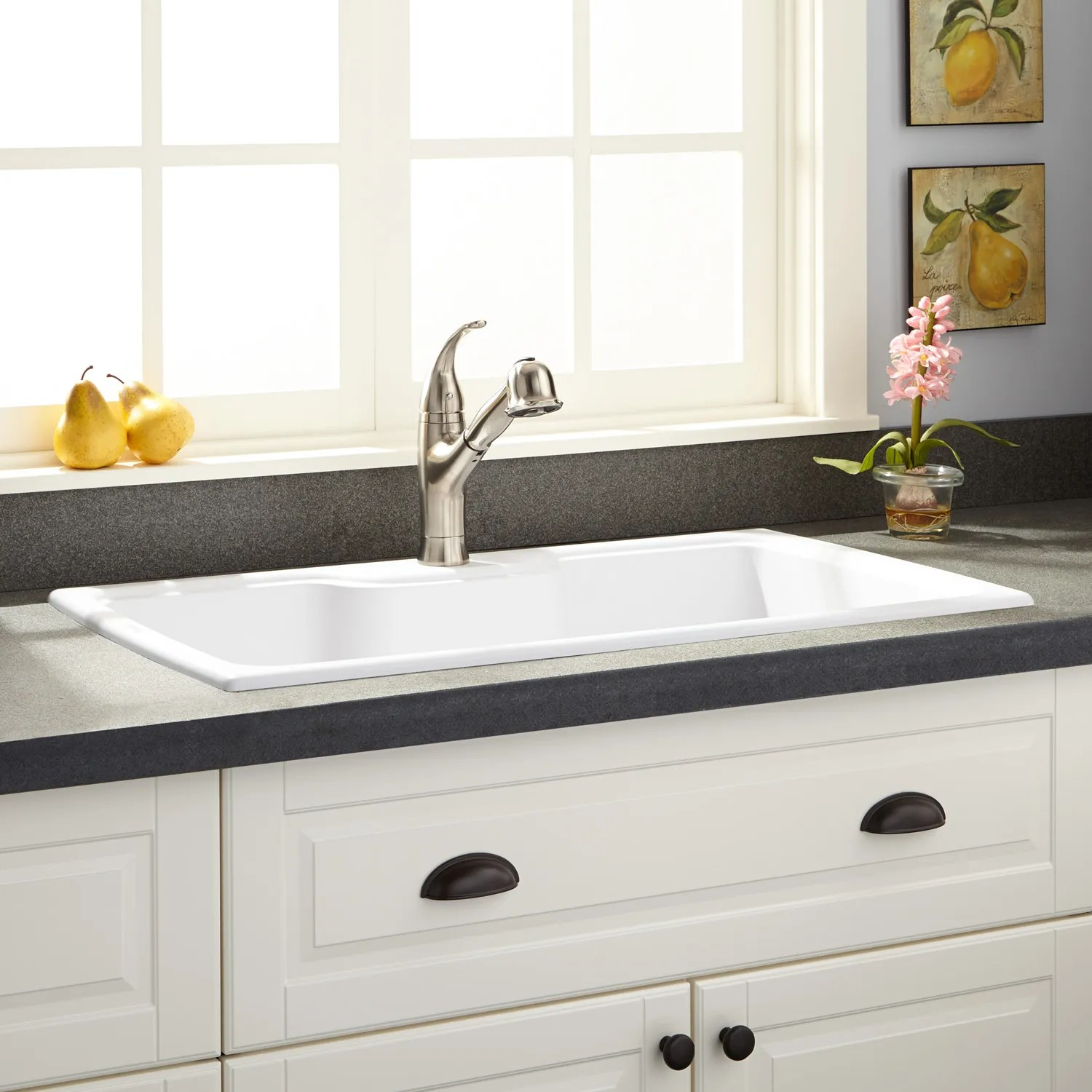 40 Nevan Fireclay Drop In Sink With Drainboard White