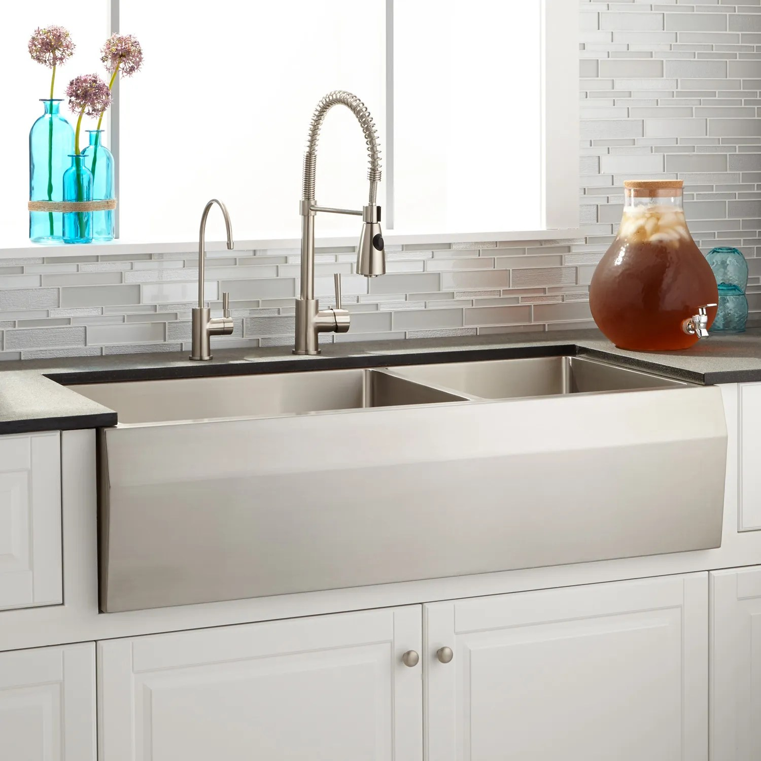 42 inch kitchen sink materials farmhouse signature hardware kingsley 60 40 offset double bowl stainless steel beveled