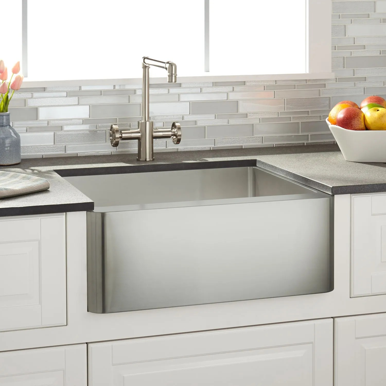 24 inch kitchen sink used kitchens for sale farmhouse signature hardware hazelton stainless steel