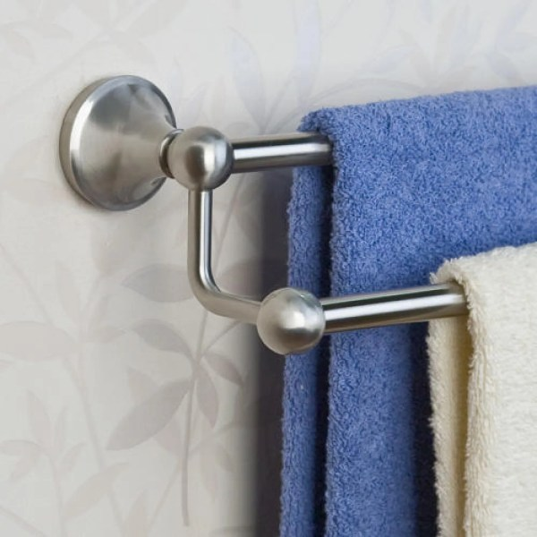 Brushed Nickel Double Towel Bars for Bathroom