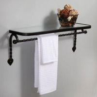 Gothic Collection Cast Iron Glass Shelf with Towel Bar ...