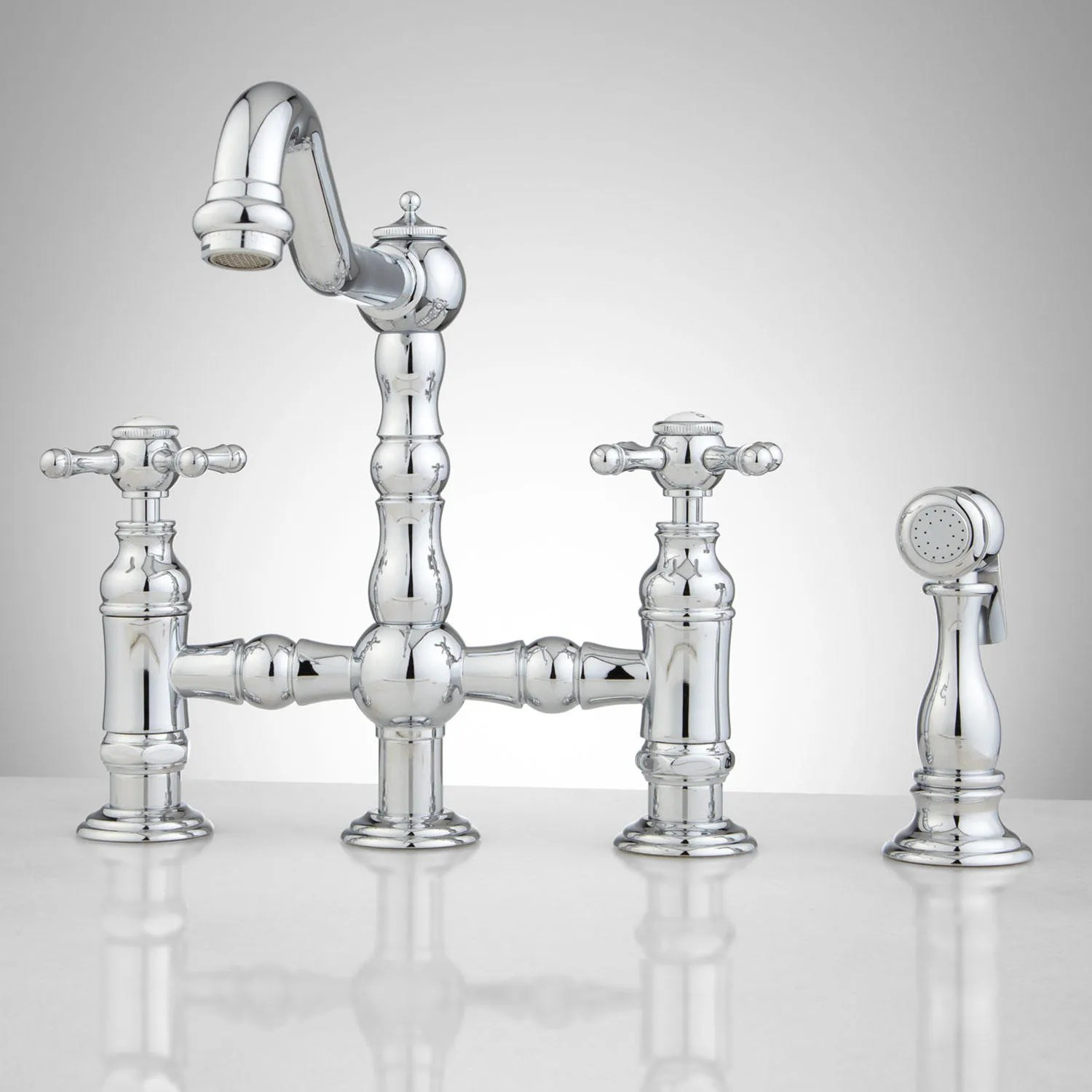 Delilah DeckMount Bridge Faucet with Side Spray  Cross
