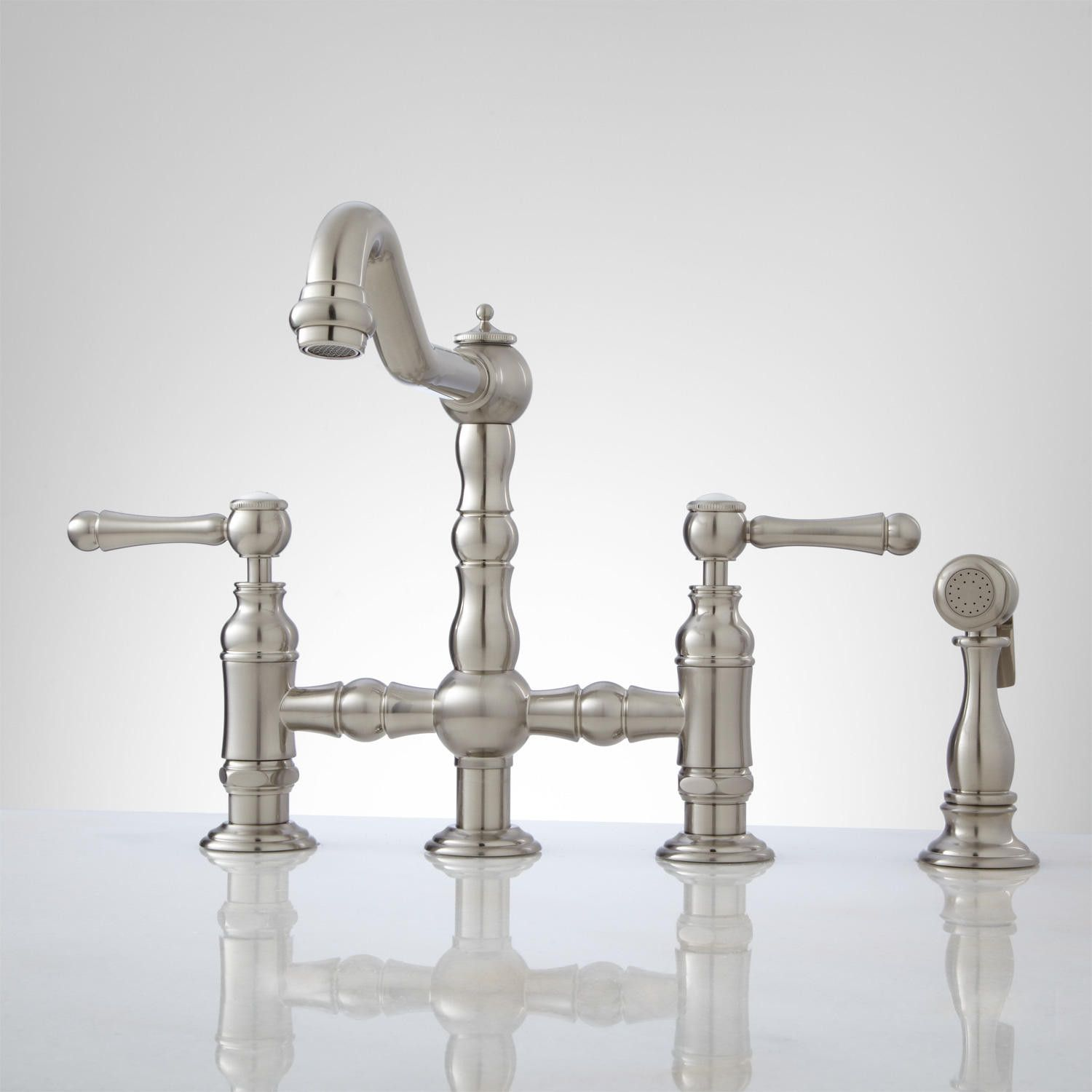 bridge faucets for kitchen country table sets delilah deck-mount faucet with side spray - lever ...