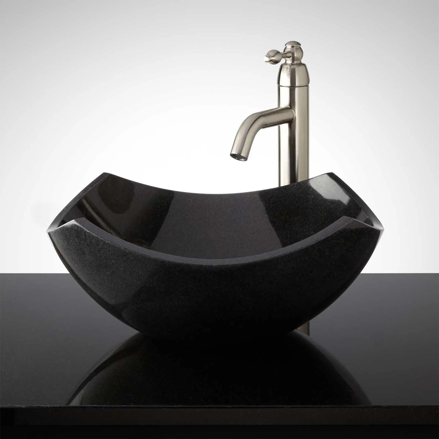 Curved Origami Polished Granite Vessel Sink  Vessel Sinks  Bathroom Sinks  Bathroom