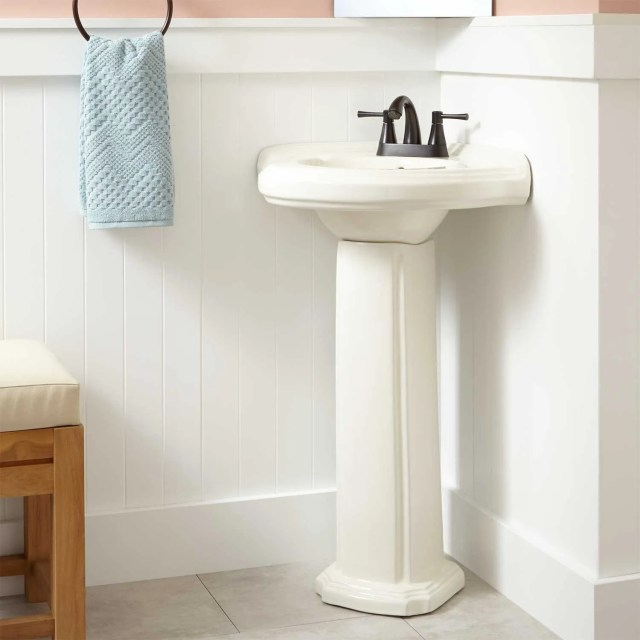 Gaston Corner Porcelain Pedestal Sink Bathroom
