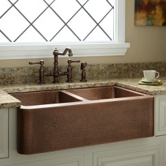Kitchen Farmhouse Sinks How To Replace Countertops 35 Quot Double Bowl Hammered Copper Sink