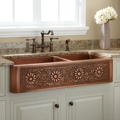 Farmhouse Kitchen Sinks Canisters Sets 42 Quot Sunflower 60 40 Offset Double Bowl Copper