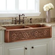 "42"" Sunflower 60 40 Offset Double-bowl Copper Farmhouse"