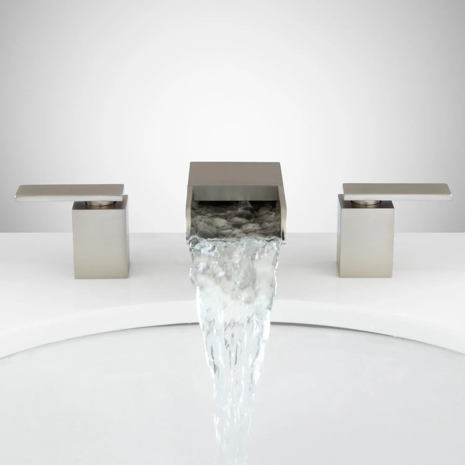 brushed nickel kitchen hardware compost pail willis widespread waterfall faucet - bathroom