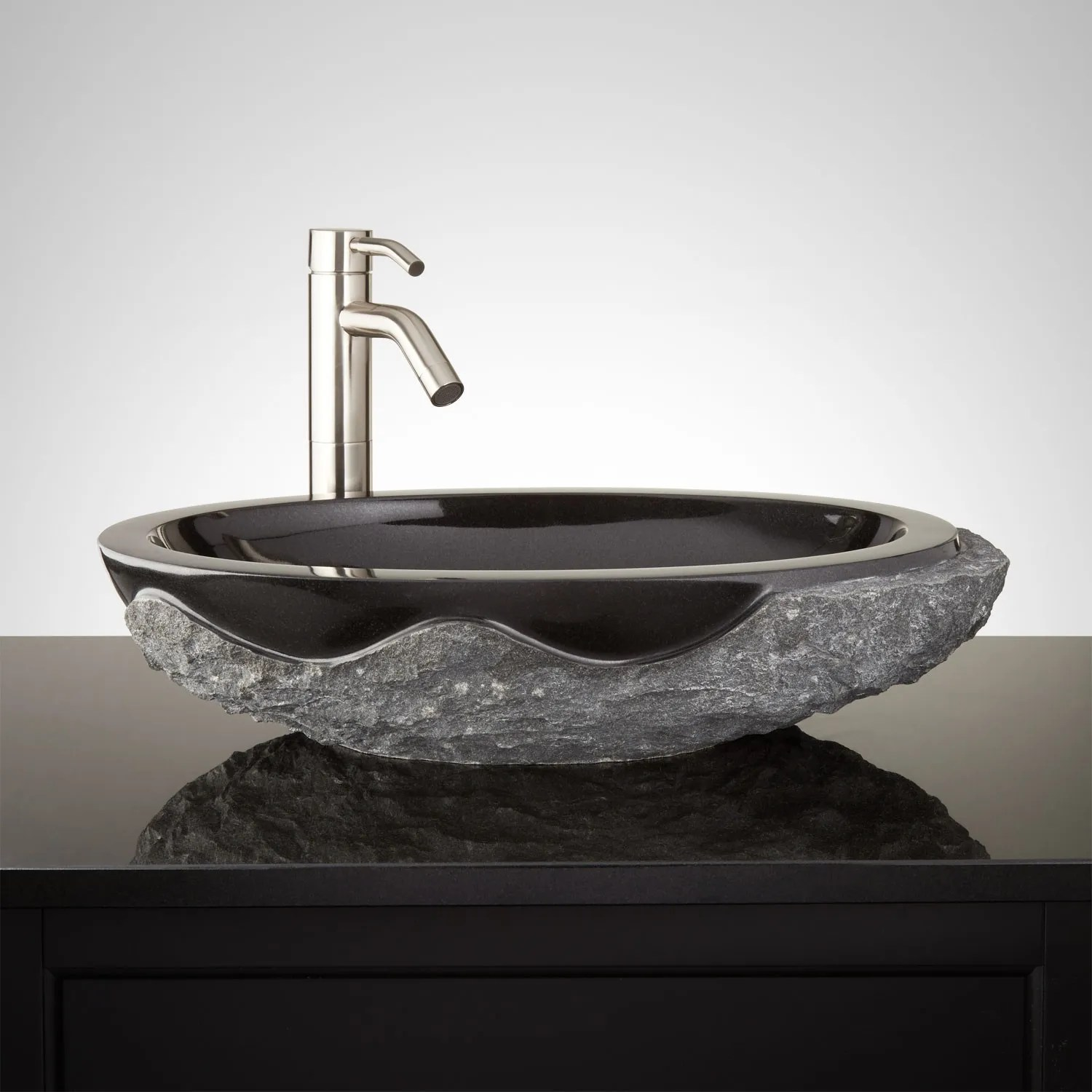 Harney Stone Vessel Sink  Chiseled Edge  Bathroom