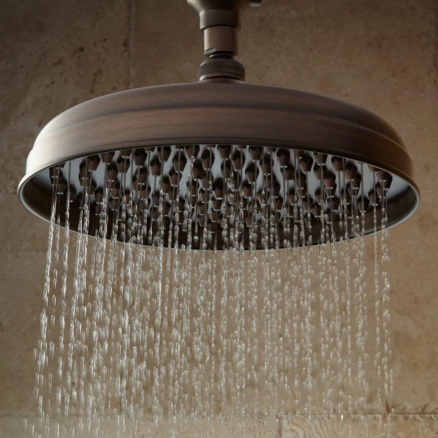 Lambert Rainfall Nozzle Shower Head With Ornate Arm  Bathroom