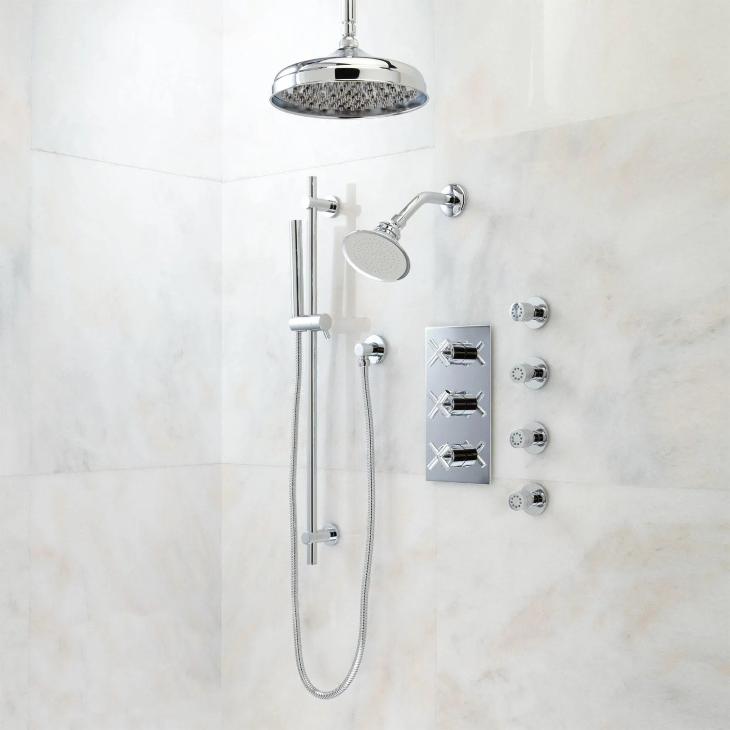 Exira Thermostatic Shower System  Dual Shower Heads Hand