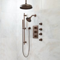 Exira Thermostatic Shower System   Dual Shower Heads, Hand ...