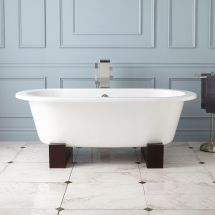 """68"""" Erikson Cast Iron Double-ended Tub Wood Cradles"""