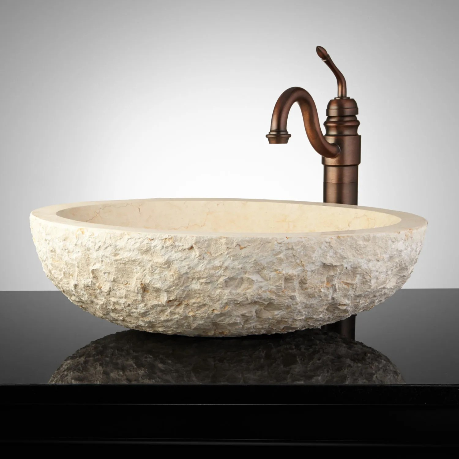 Oval Chiseled Marble Vessel Sink  Bathroom
