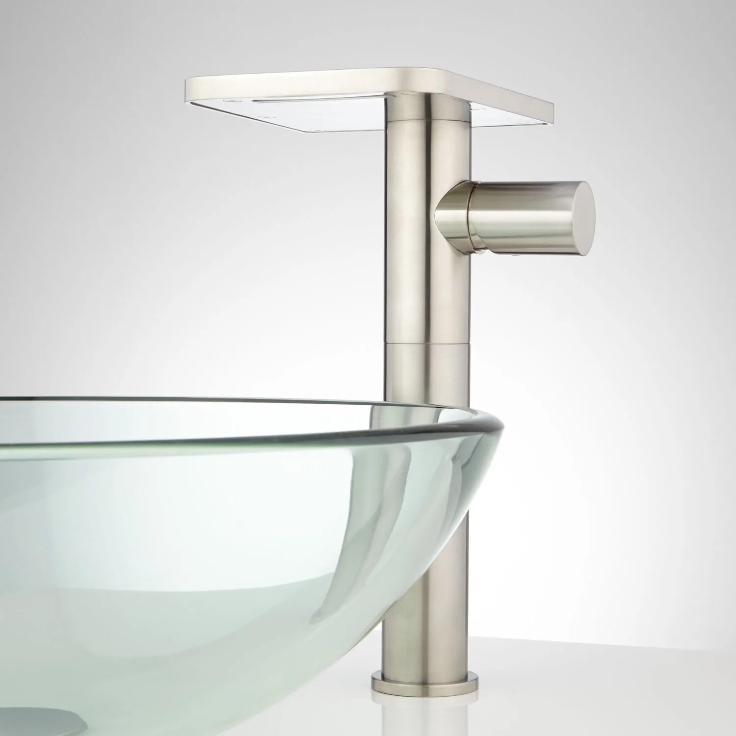 brushed nickel kitchen hardware little bakers knox waterfall vessel faucet with pop-up drain - bathroom